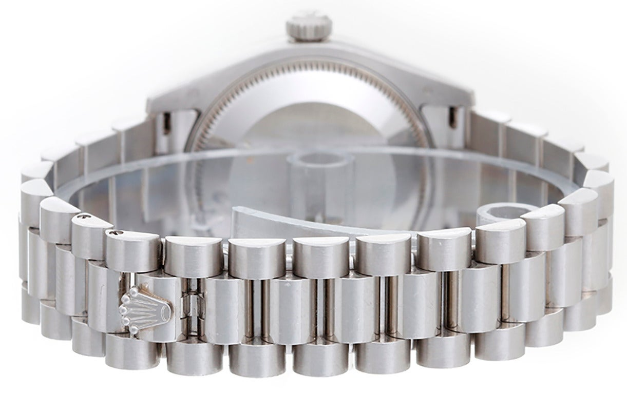Rolex Lady's Platinum Diamond Lady 31 President Midsize Wristwatch Ref 178286 2