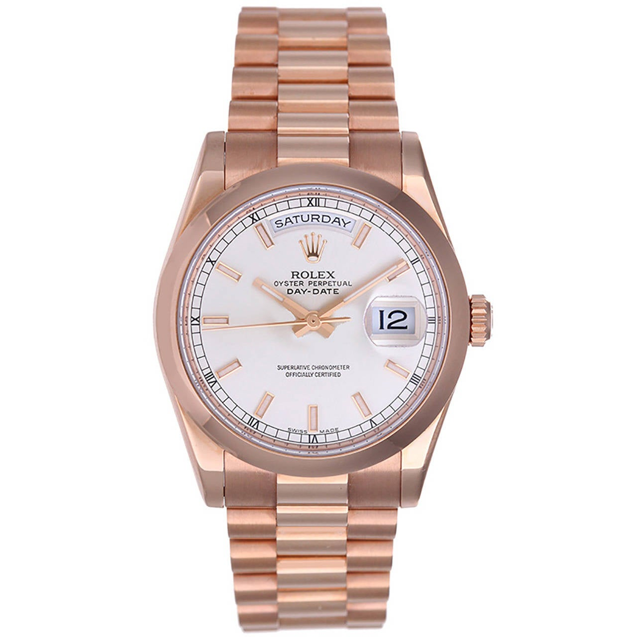 Rolex Rose Gold President Day-Date Wristwatch Ref 118205