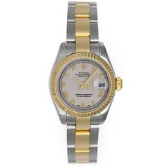 Rolex Lady's Yellow Gold Stainless Steel Datejust Wristwatch Ref 179173