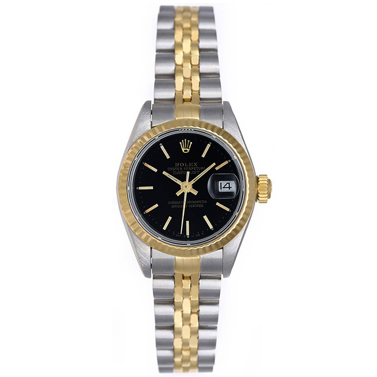 Rolex Lady's Yellow Gold Stainless Steel Datejust Wristwatch Ref 69173