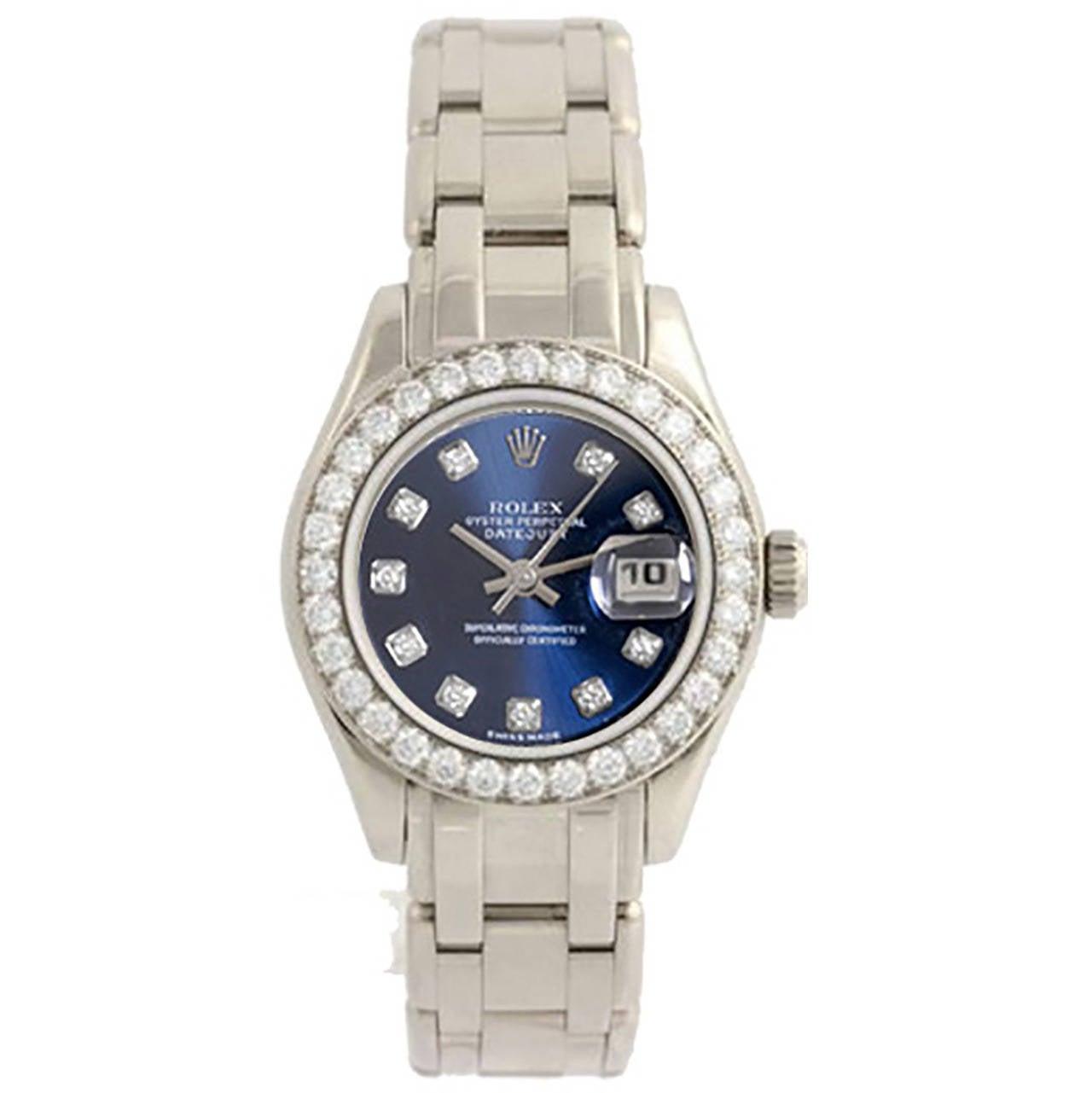 Rolex Lady's White Gold Diamond Pearlmaster Masterpiece Wristwatch Ref 80299 1