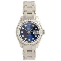Rolex Lady's White Gold Diamond Pearlmaster Masterpiece Wristwatch Ref 80299