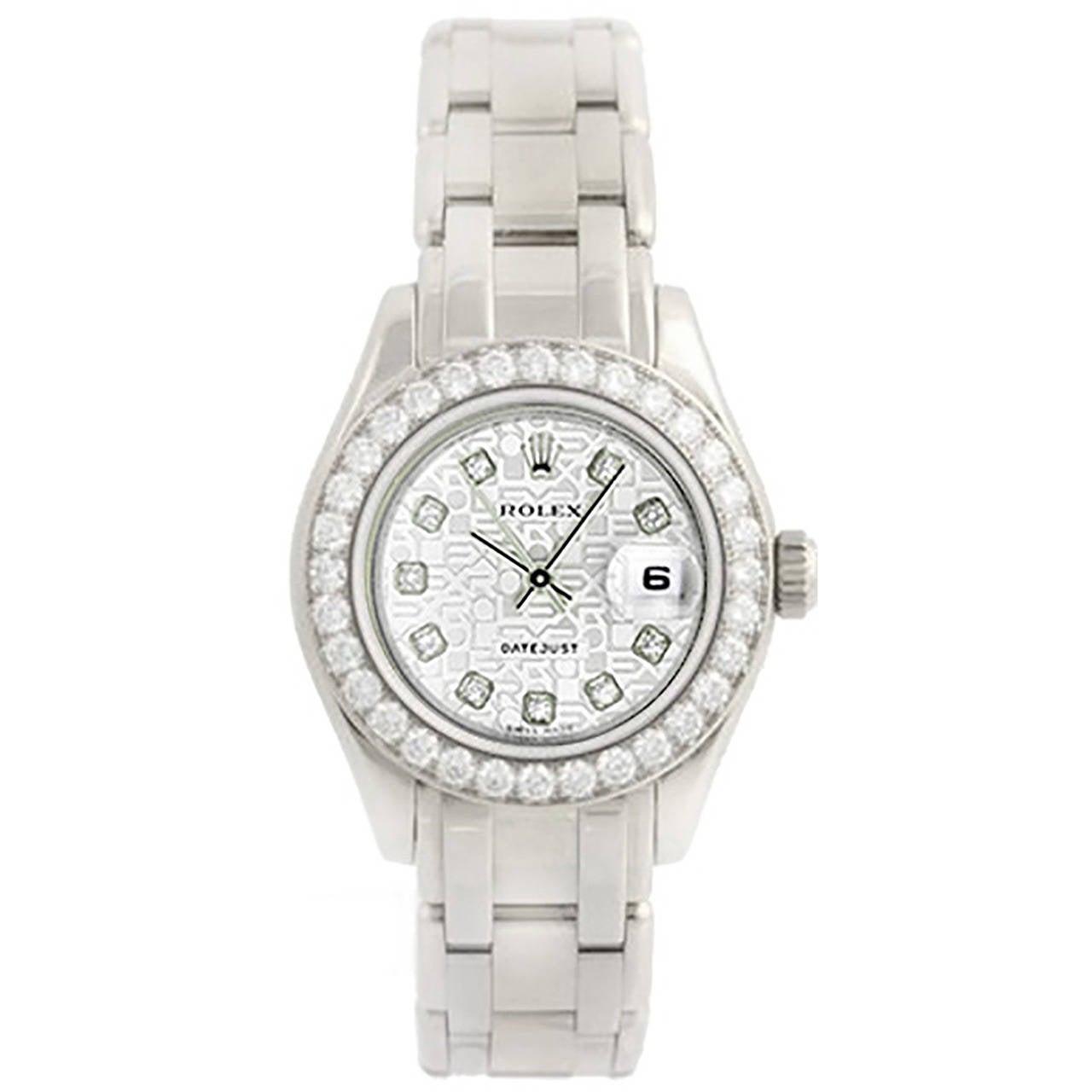 Rolex Lady's White Gold Diamond Pearlmaster Automatic Wristwatch Ref 80299