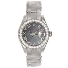 Rolex Lady's White Gold Pearlmaster Mother of Pearl Quartz Wristwatch Ref 80299