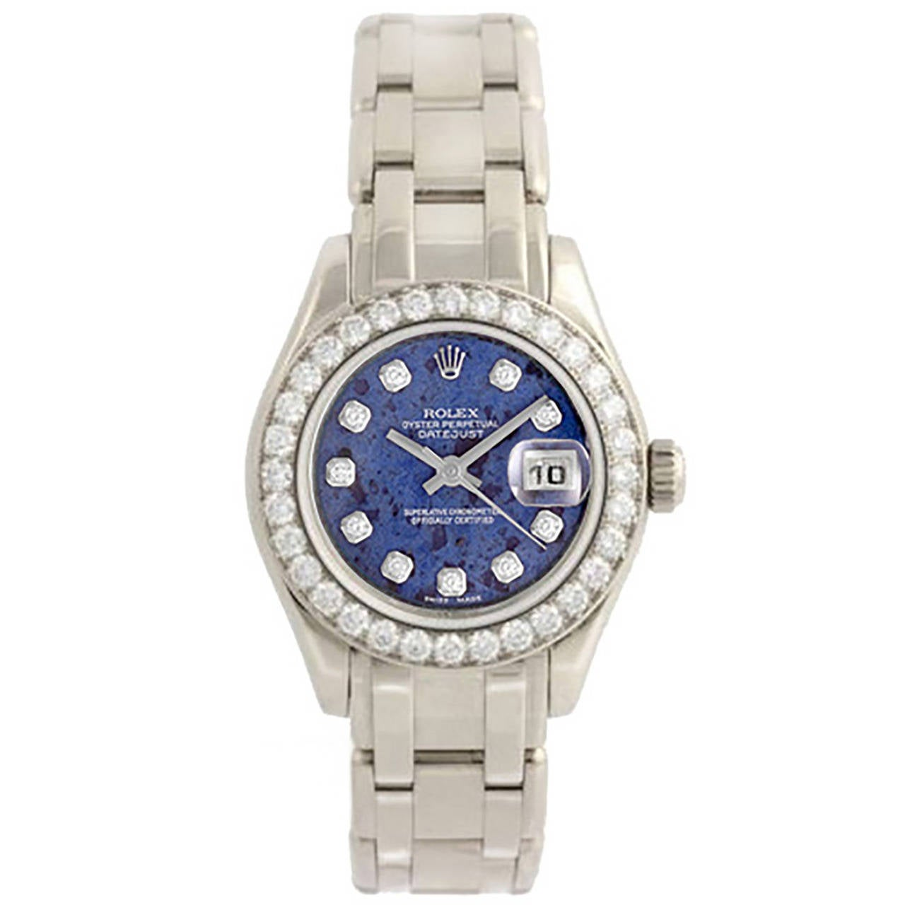 Rolex Lady's White Gold Sodalite Diamond Dial Pearlmaster Wristwatch Ref 80299