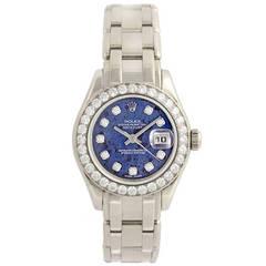 Rolex Lady's White Gold Sodalite Diamond Dial Pearlmaster Wristwatch Ref 80299