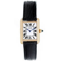 Cartier Lady's Yellow Gold Tank Quartz Wristwatch