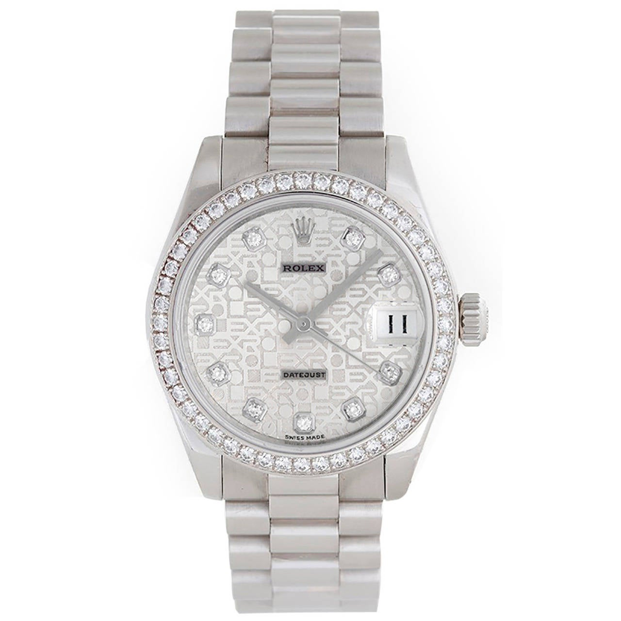 Rolex Lady's Platinum Diamond Lady 31 President Midsize Wristwatch Ref 178286 For Sale