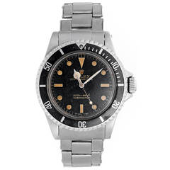 Rolex Stainless Steel Submariner Two-Line Gilt Dial Automatic Wristwatch
