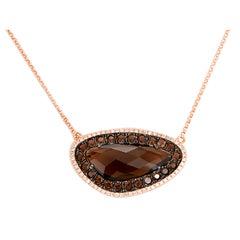 Beautiful Smoky Quartz Diamond Rose Gold Necklace