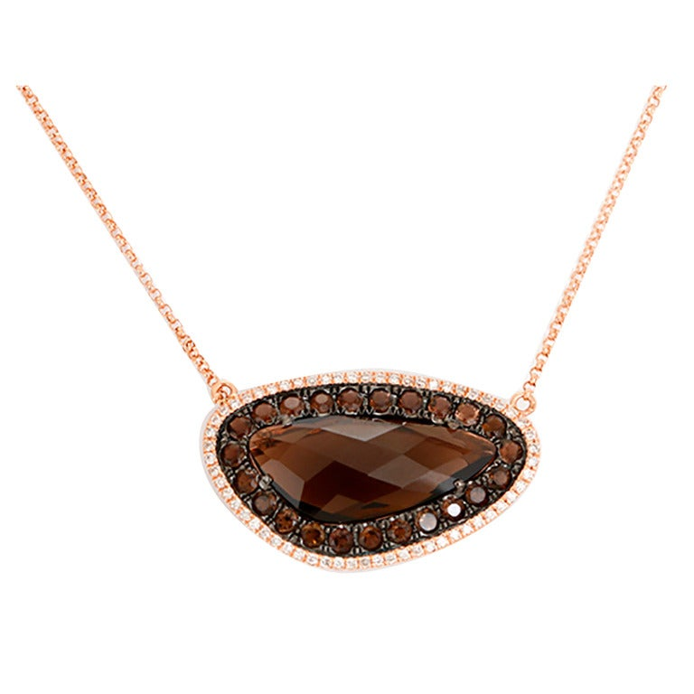 Beautiful Smoky Quartz Diamond Rose Gold Necklace For Sale