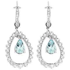 Beautiful Aquamarine Diamond Gold Dangle Earrings