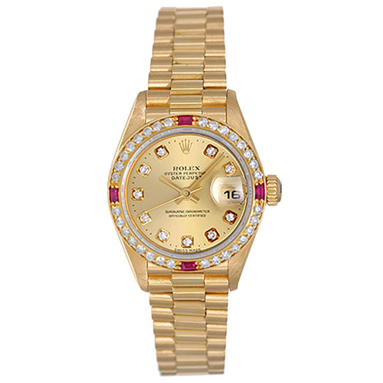 Rolex Lady's Yellow Gold Diamond President Automatic Wristwatch Ref 69178 For Sale