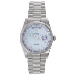 Rolex White Gold Glacier Blue Dial President Day-Date Wristwatch Ref 118209