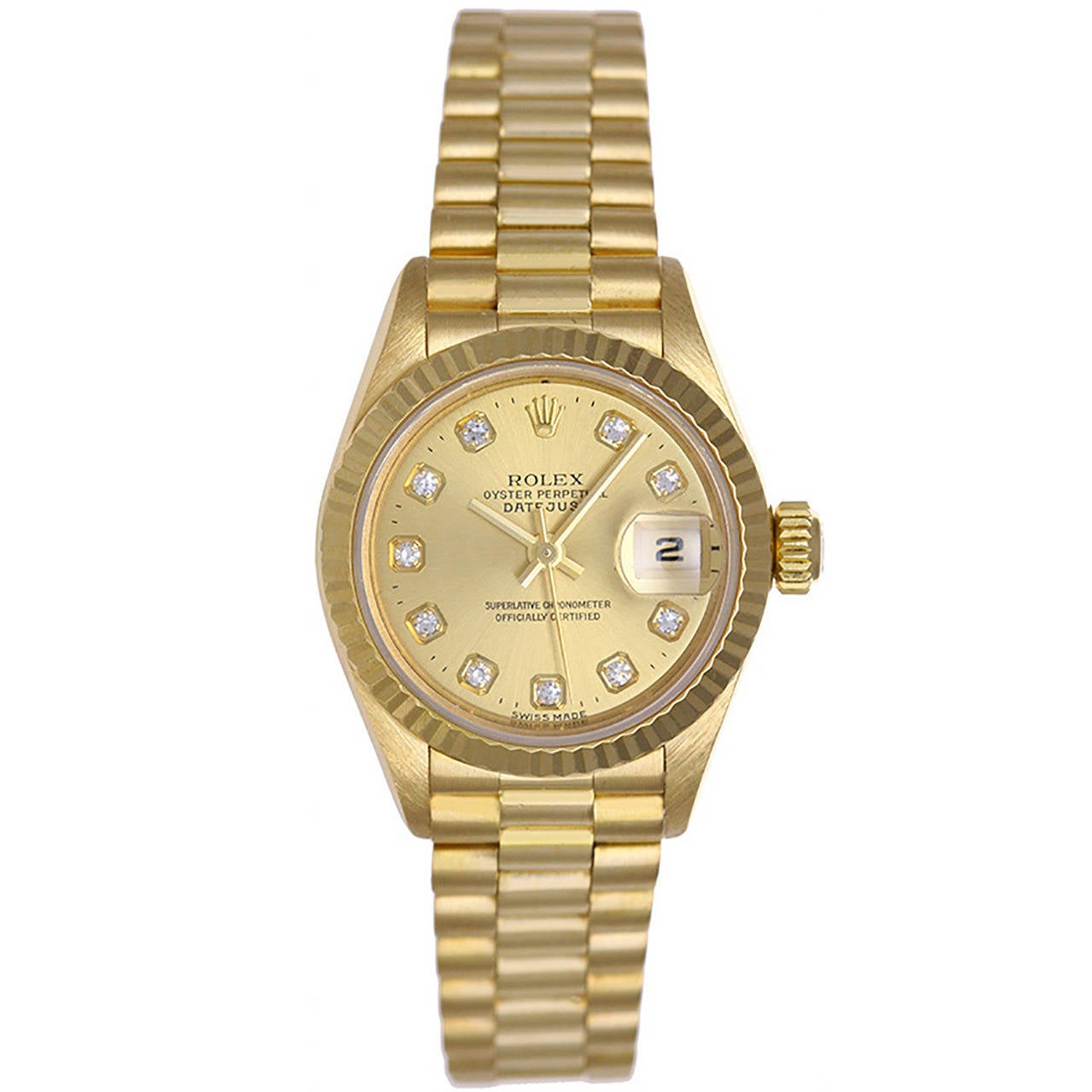 Rolex Lady's Yellow Gold Diamond President Automatic Wristwatch Ref 69178 1