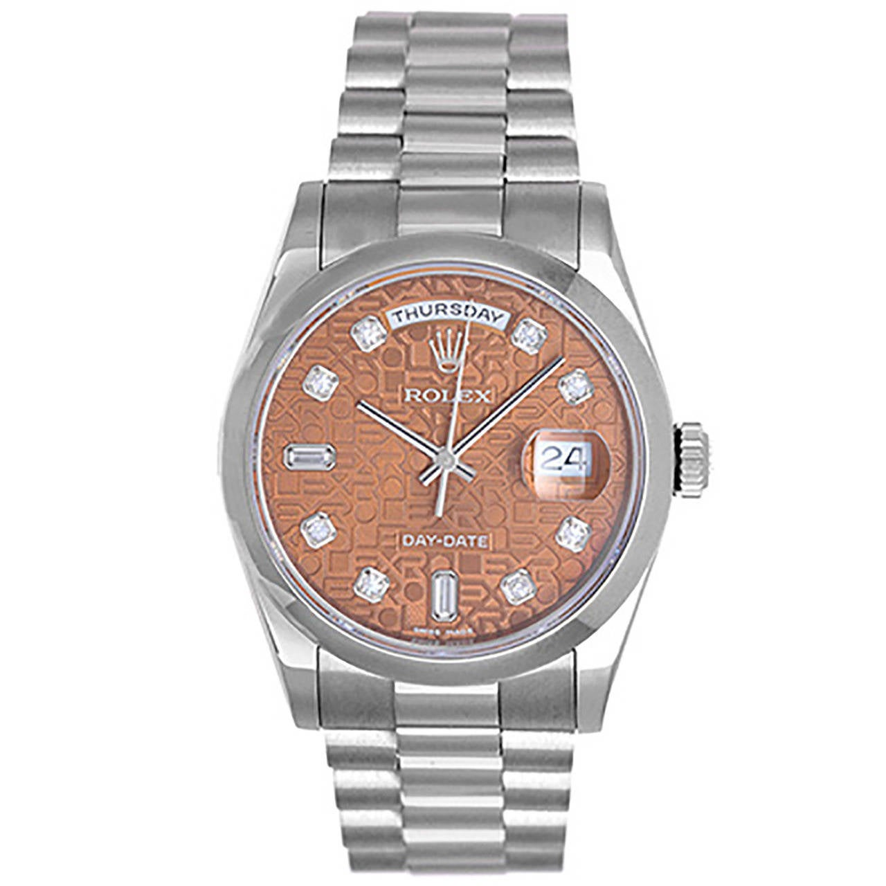 6a0d6a6c6c8 Rolex White Gold President Day-Date Havana Dial Automatic Wristwatch Ref  118209 For Sale