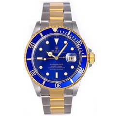 Rolex Yellow Gold Stainless Steel Submariner Diving Sports Wristwatch Ref 16613