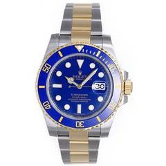 Rolex Yellow Gold Stainless Steel Submariner Wristwatch Ref 116613
