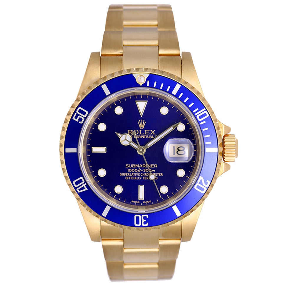 Rolex Yellow Gold Submariner Blue Dial Automatic Wristwatch Ref 16618 For Sale