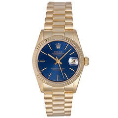 Rolex Lady's Yellow Gold President Blue Dial Automatic Wristwatch Ref 79178