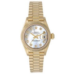 Rolex Lady's Yellow Gold Diamond Dial President Automatic Wristwatch Ref 69178