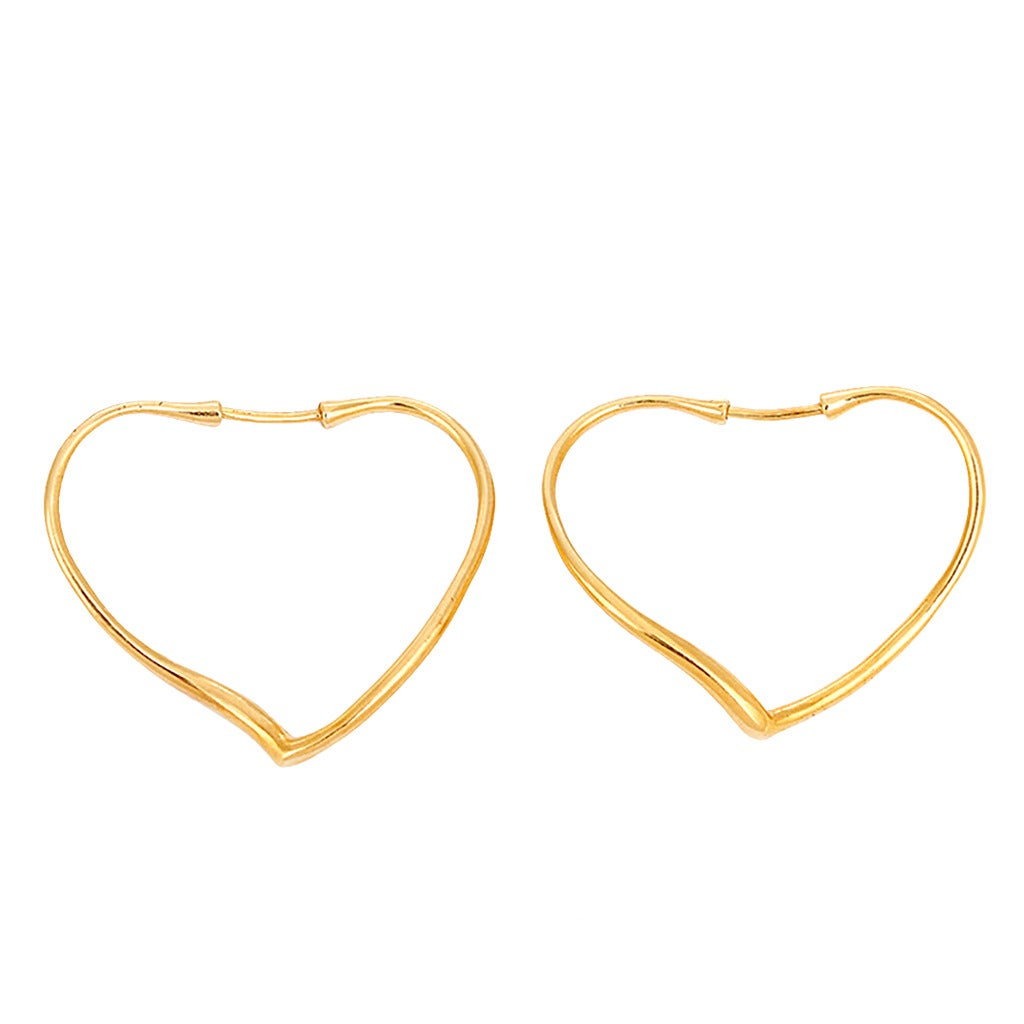 Tiffany Co Elsa Peretti Open Heart Yellow Gold Hoop Earrings For