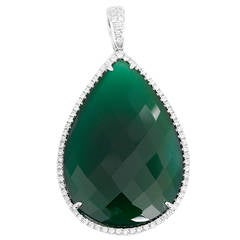 White Gold, Diamond, and Green Agate Pear Shaped Pendant Necklace