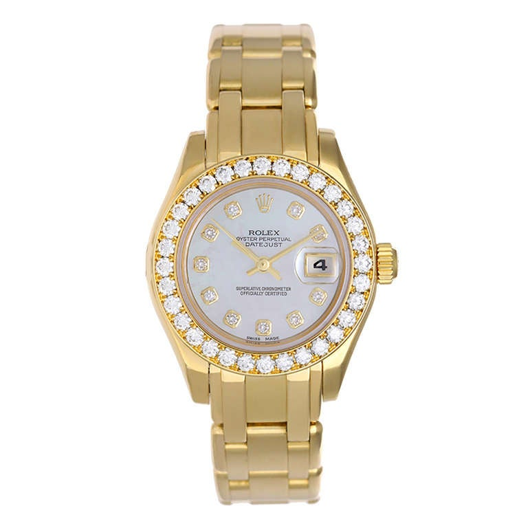 Rolex Lady's Yellow Gold and Diamond Masterpiece Pearlmaster Watch Ref 69298 1