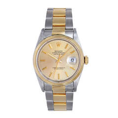 Rolex Stainless Steel and Yellow Gold Datejust Wristwatch Ref 16203