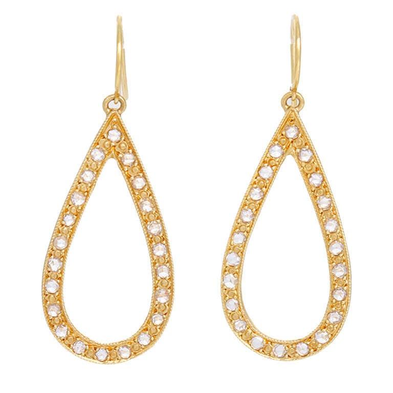 Elegant Handmade Rose Gold Diamond Teardrop Earrings