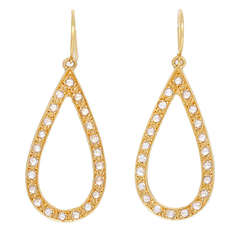 Elegant Handmade Rose Gold Diamond Teardrop Earrings