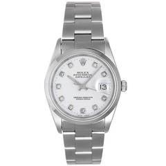 Rolex Stainless Steel Diamond Datejust Automatic Wristwatch Ref 16200