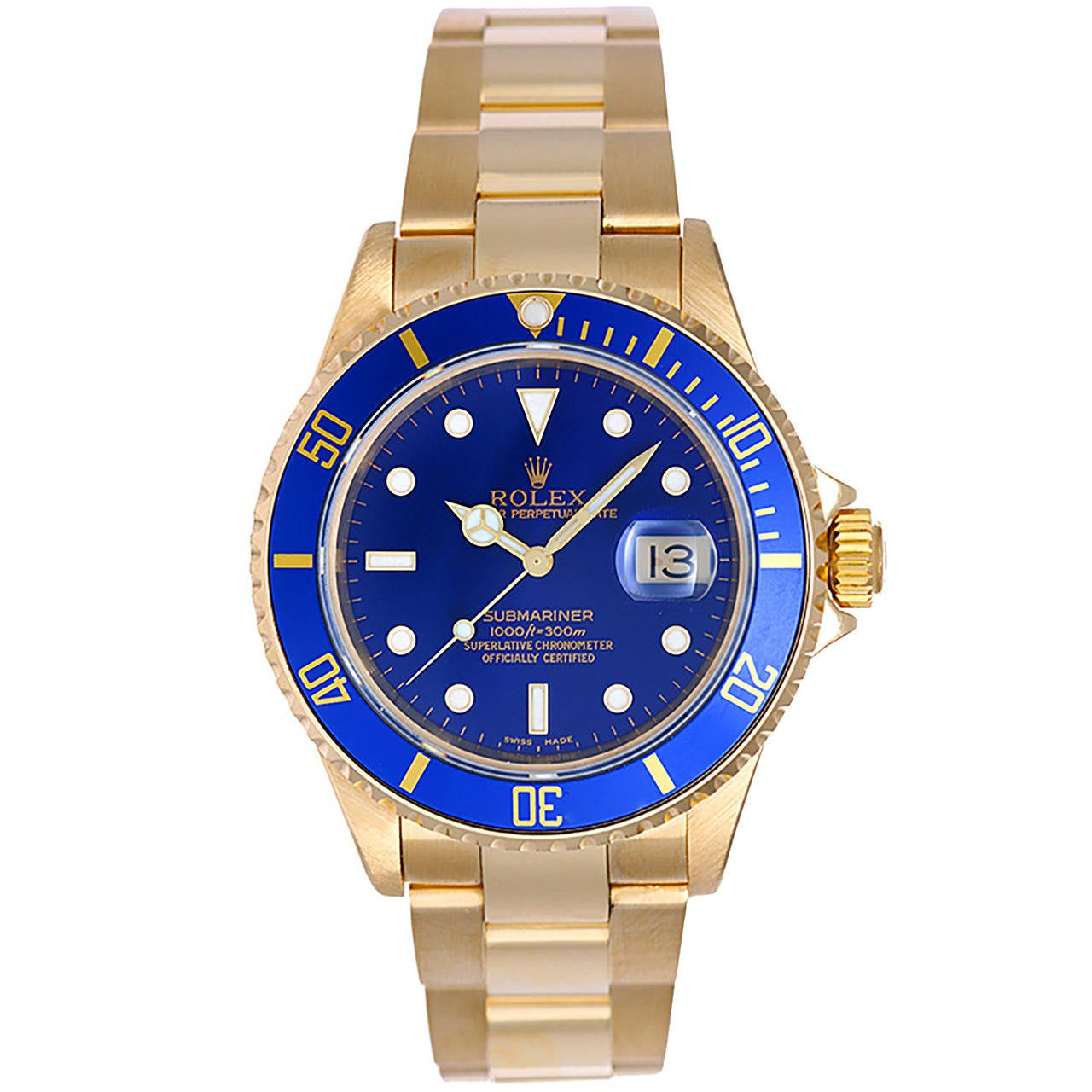 Rolex Yellow Gold Submariner Blue Dial Wristwatch Ref 16618 For Sale