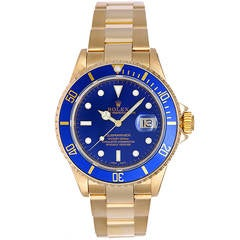 Rolex Yellow Gold Submariner Blue Dial Wristwatch Ref 16618