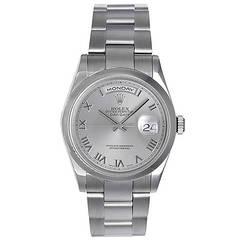 Rolex White Gold President Rhodium Roman Dial Day-Date Wristwatch Ref 118209