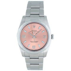 Rolex Stainless Steel Air-King Pink Arabic Dial Automatic Wristwatch Ref 114210