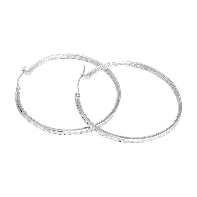 Beautiful White Gold Inside-Out Diamond Hoop Earrings