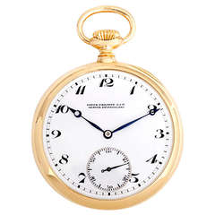 Patek Philippe Yellow Gold Pocket Watch Won First Place at Geneva Time Trials