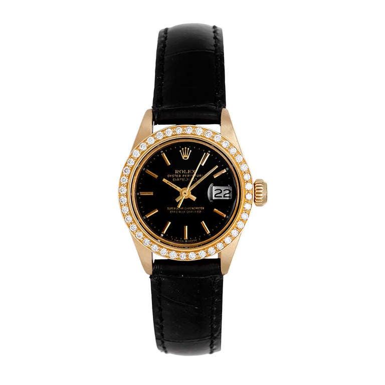 Rolex Lady's Yellow Gold Datejust Wristwatch with Custom Diamond Bezel Ref 6917 For Sale