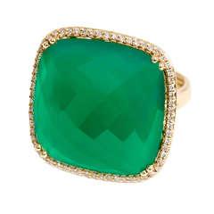 Beautiful Yellow Gold Square Green Agate Diamond Ring