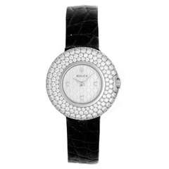 Rolex Lady's White Gold and Diamond Cellini Orchid Wristwatch