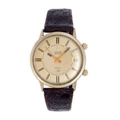 LeCoultre Yellow Gold-Filled Memovox Alarm Wristwatch