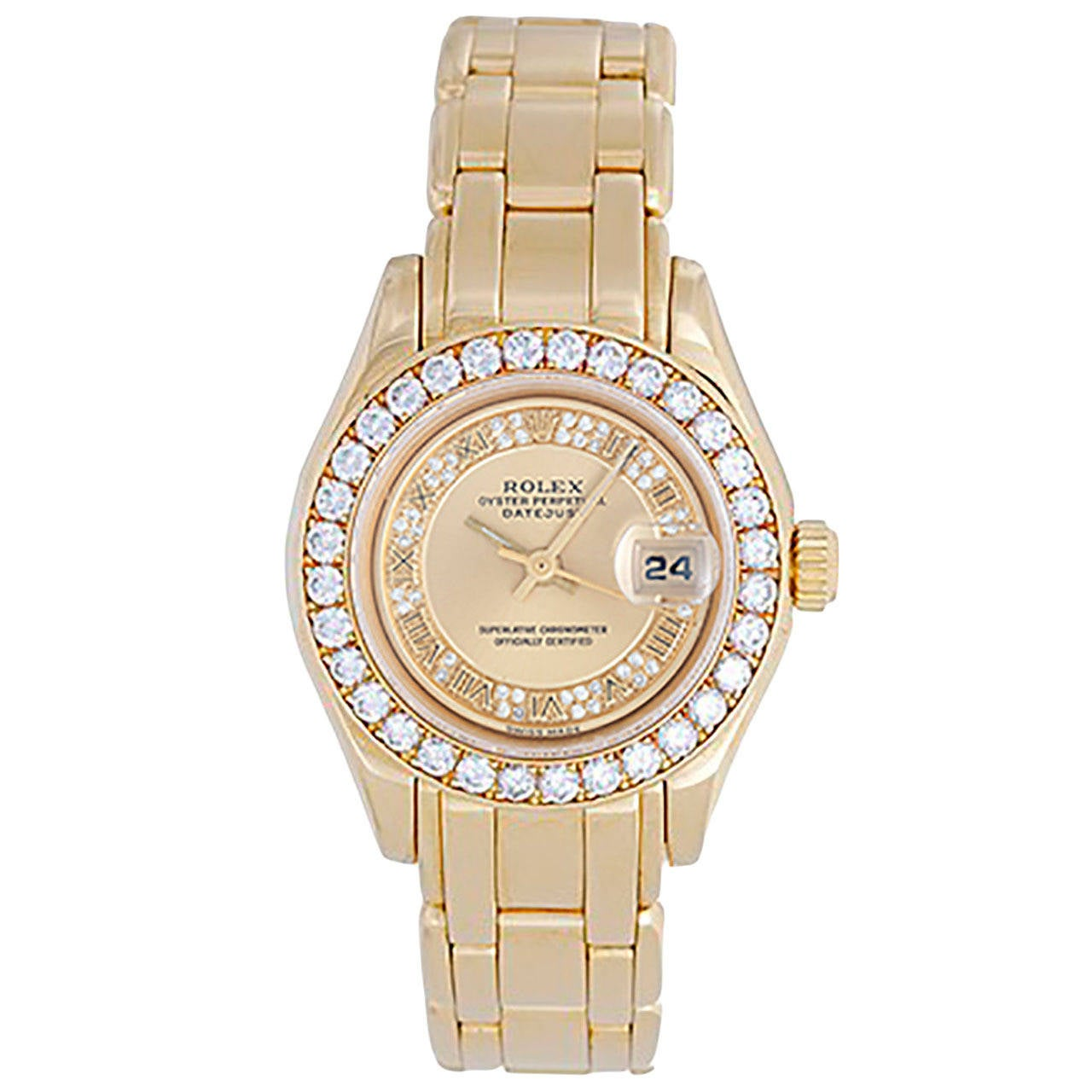 Rolex Lady's Yellow Gold Masterpiece/Pearlmaster Automatic Wristwatch Ref 69298 1