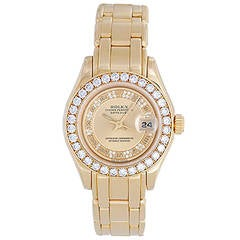 Rolex Lady's Yellow Gold Masterpiece/Pearlmaster Automatic Wristwatch Ref 69298