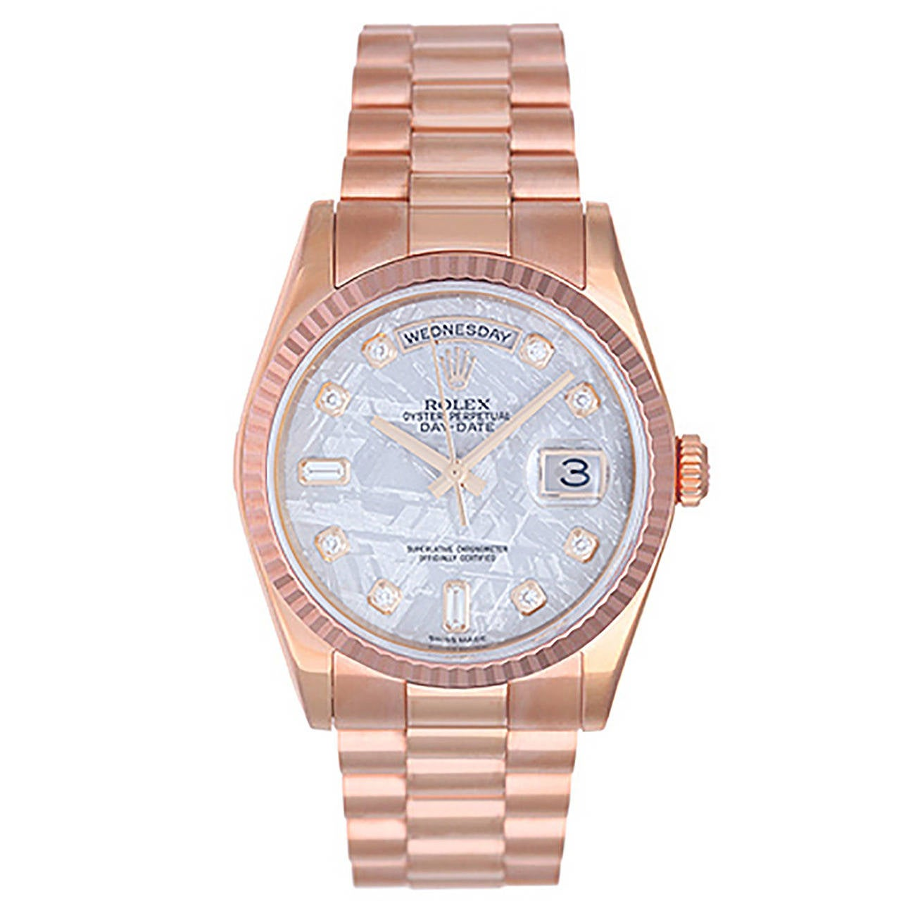 Rolex Rose Gold President Day-Date Meteorite Diamond Dial Wristwatch Ref 118235 1