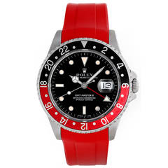 Rolex Stainless Steel GMT-Master II Red Rubber Strap Band Wristwatch Ref 16710
