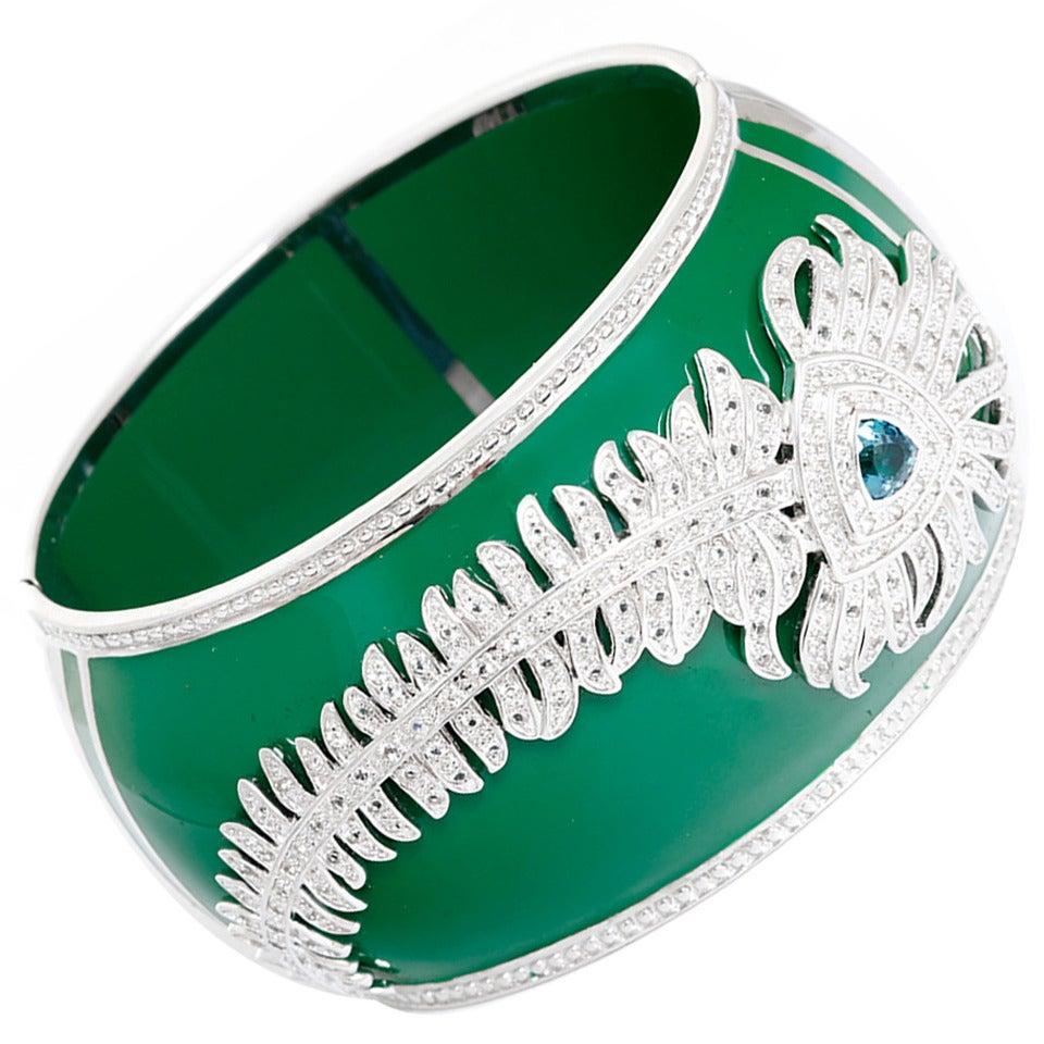 Miriam Salat Peacock Green Resin Topaz Sterling Silver Cuff Bracelet