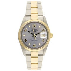 Rolex Yellow Gold Stainless Steel Date Automatic Wristwatch Ref 15203