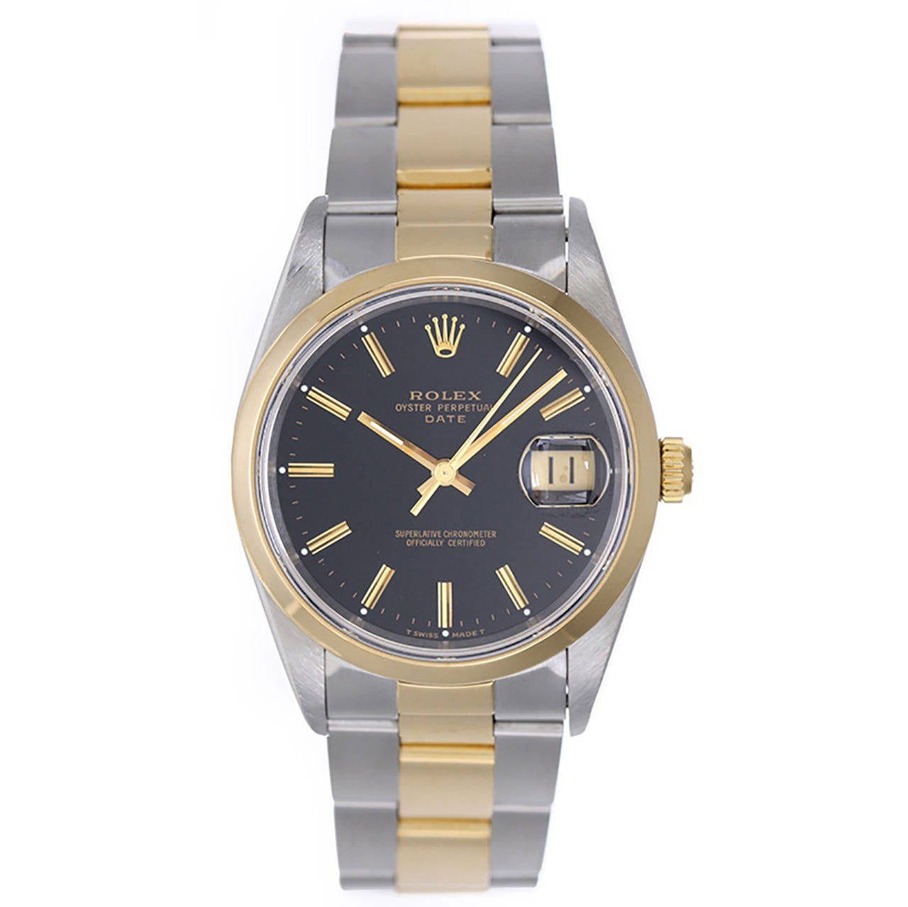Rolex Yellow Gold Stainless Steel Black Dial Date Automatic Wristwatch Ref 15203