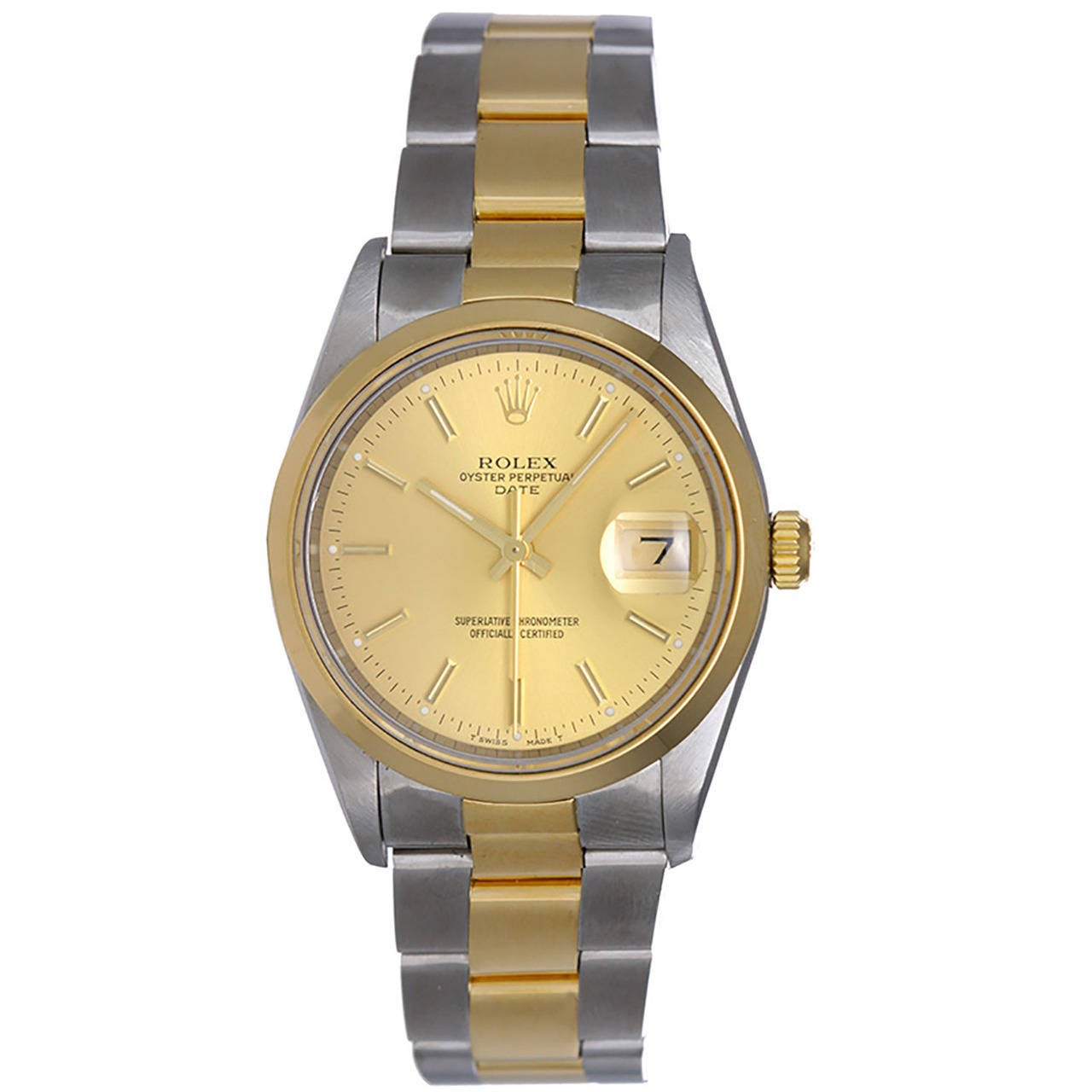 Rolex Yellow Gold Stainless Steel Champagne Dial Automatic Wristwatch Ref 15203